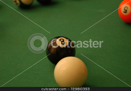 Eight ball stock photo, A game of pool with a shot lined up by Tim Markley