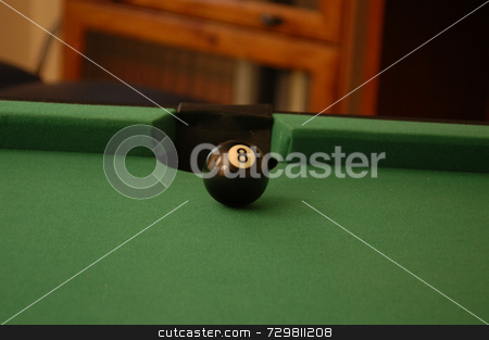 Side pocket stock photo, A game of pool with a shot lined up by Tim Markley
