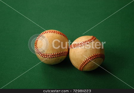 After the season stock photo, Two worn out old baseballs after a season of use by Tim Markley