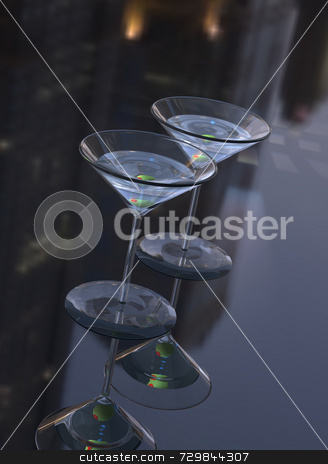Two Martinis stock photo, 3D illustration of two martini cocktail mixed drinks with green olives. Classic martini glasses on imaginary reflective surface with abstract city buildings reflected on it. Great reflections and night time ambiance. by ngirl