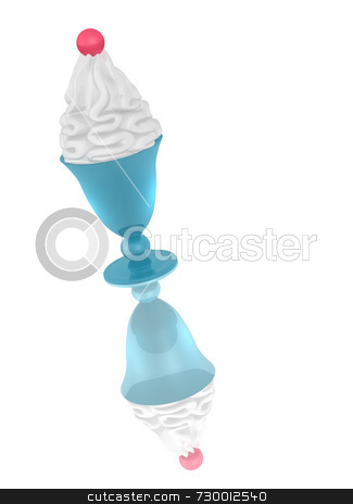 Ice Cream With Cherry stock photo, Ice cream with cherry in aqua blue pedestal cup or bowl. Iice cream image mirrored on white surface. by ngirl
