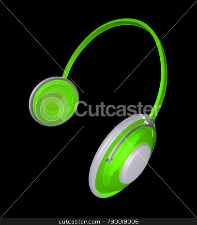 Headphones Lime Green Plastic stock photo, Headphones in vivid lime green plastic with white and chrome accents. Modern and quirky, the lime green plastic is translucent and highly reflective. Extreme wide angle view. by ngirl