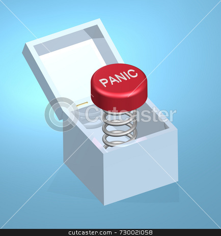 Panic Button On Coil Spring stock photo, 3D illustration of panic button on coil spring inside of a white box with a lid that opens. Panic button is red with raised white letters. Great metallic texture on coil spring. Blue background geared for business use has lighting effects hehind the box. by ngirl