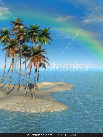 Palm Trees and Rainbow stock photo, Quality 3D illustration of coconut palm trees on small sand island. Idyllic and serene blue ocean water, Deep blue sky with wispy clouds and rainbow. What a fantasy vacation should look like. by ngirl