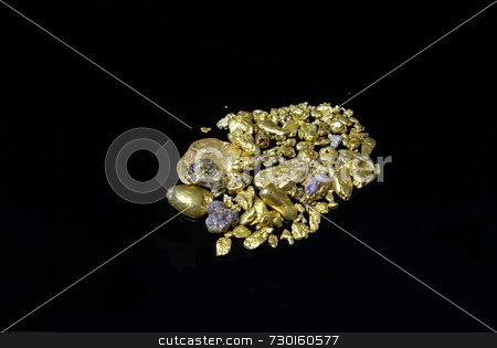 Gold nugget stock photo, Gold nuggets, flakes and dust mined from the creeks and rivers of california by Lynn Bendickson