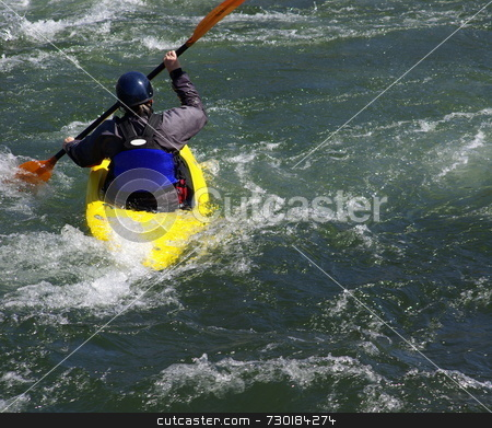Yellow Kayak On The River stock photo, Kayaking On The S. Fork American River in California on a spring afternoon by Lynn Bendickson
