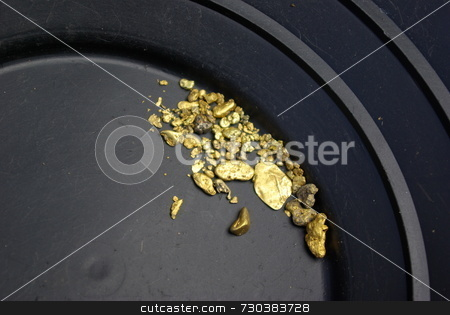 Gold nuggets stock photo, Gold nuggets, flakes and dust mined from the creeks and rivers of california by Lynn Bendickson