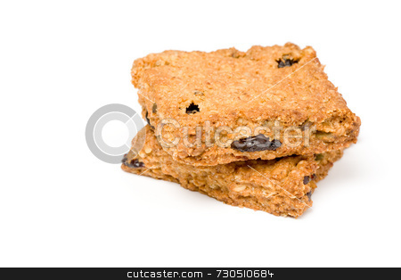 Granola bar  stock photo, Granola bar squares stacked on white by Jon Stokes