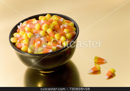 Halloween Candy Corn stock photo, Black bowl full of Halloween candy commonly known as