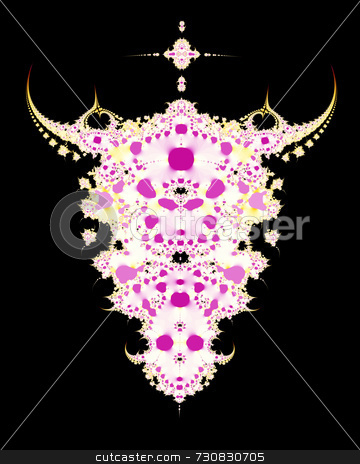 Cow Skull Fractal stock photo, Abstract fractal design looks like cow or steer skull. Mottled pink on white with yellow accents give the image a modern, edgy effect. Pure black background. Great Tshirt design. by ngirl