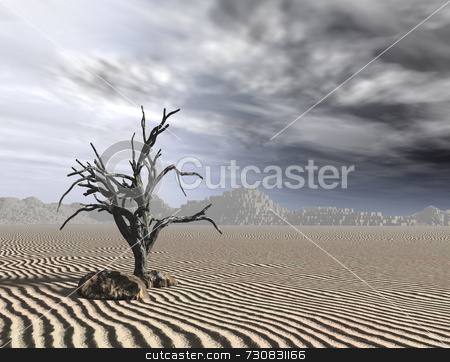 Dead Tree stock photo, Art piece depicts the last tree on earth, now dead wood. Dreary gray sky, dull and dreary stone hills in background. Miles of desert sand, Could depict earth as a global warming system, or an alien planet. by ngirl