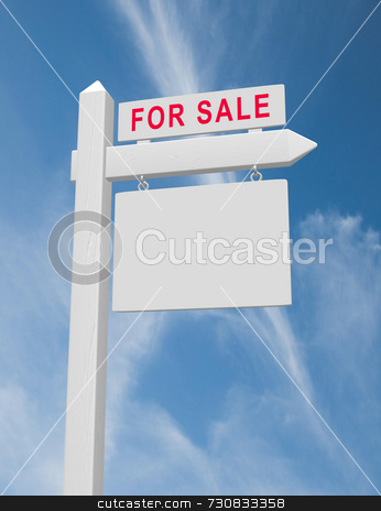 For Sale Sign stock photo, For sale real estate sign on wood post with hanging blank placard against blue sky with wispy clouds. Beveled sign post with realistic wood texture. by ngirl