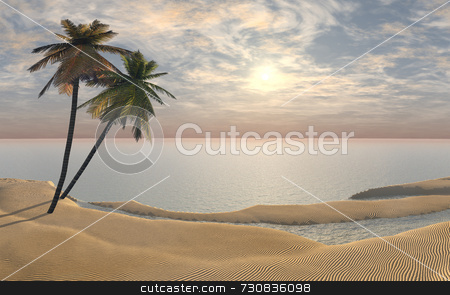 Two Palm Trees at Sunrise stock photo, Two palm trees at sunrise with a vanilla sky. Calm and peaceful, the palm trees are on an imaginary sandy beach with calm ocean water. Depicts the start of the day and travel, tourism, relaxation. 3D illustration. by ngirl