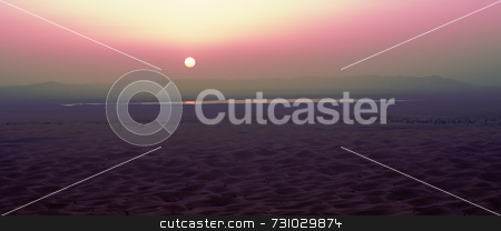 Pink Violet Sunset In The Desert stock photo, Pink Violet Sunset in the Desert in Morocco by Jan-Peter Von Hunnius