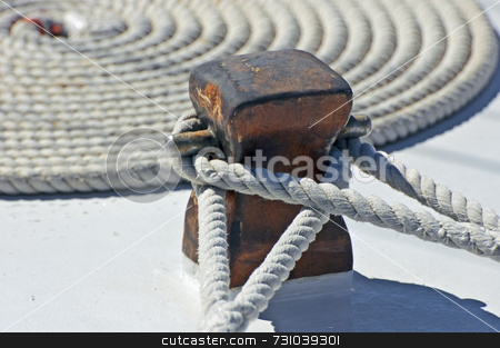 Mooring rope stock photo, Detail of a moored boat by Massimiliano Leban