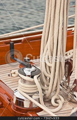 Winch stock photo, Winch and rope on a yacht by Massimiliano Leban