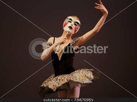 Masked Tutu stock photo, Woman dancer by Trevor Millions