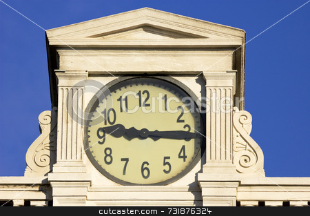 Old clock stock photo, An old clock on the top of a building by Massimiliano Leban