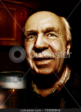 Old man drinking a beer stock photo,  by Chris Martin