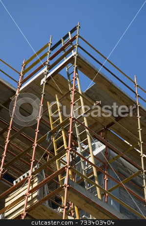Scaffold stock photo, Scaffold on new building shot from below by Simon Jeacle