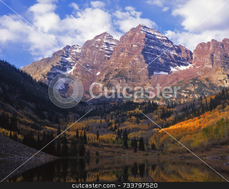 Maroon Bells stock photo, The twin peaks of the Maroon Bells in the White River National Forest, Colorado. by Mike Norton