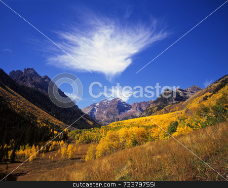 Maroon Bells stock photo, The Maroon Bells in the White River National Forest, Colorado. by Mike Norton
