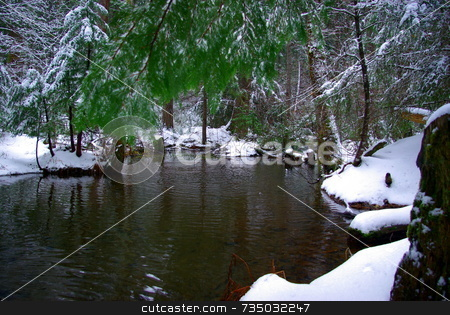 Winter Water stock photo, A mountain pond in the winter time surrounded by fresh snow by Lynn Bendickson
