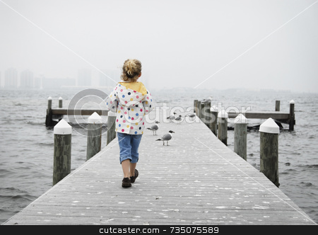 Walking Girl on Pier stock photo, Girl on Pier with seagulls by A Cotton Photo