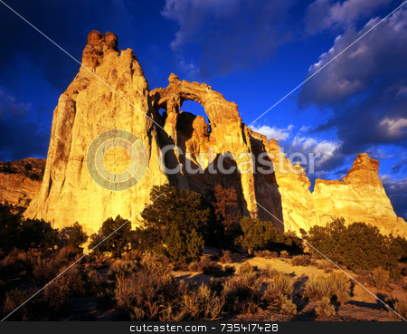 Grosvenor Arch stock photo, A double stone arch in the Grand Staircase-Esclante National Monument, Utah. by Mike Norton