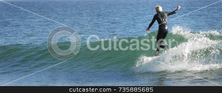 Longboard Surfer stock photo, Surfer Rincon Beach, California by A Cotton Photo