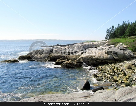 Granite Ledges at Shoreline stock photo, Granite Ledges Maine Shoreline by Tom and Beth Pulsipher