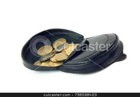 Coin wallet stock photo, Black leather coin wallet with euro coins isolated on white background by EVANGELOS THOMAIDIS