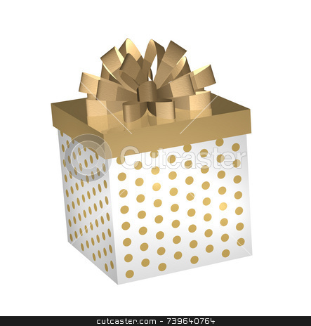 Gold and White Gift Gox stock photo, Elegant yet fun, this gold colour theme 3D gift box simulates golden metalllic and is fun and happy too. Square shaped gift box is white with gold polka dots, has a gold lid and a loopy golden ribbon row on top. Dimensional 3D lighting effects on box gives it a sense of depth and space. by ngirl