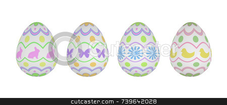 Four Patterned Easter Eggs on White Background stock photo, Four festive and pretty spring Easter Eggs on white background. Original patterns include rabbits, butterflies, flowers, chicks, hearts, and scallops. Fresh and airy spring color designs. High quality 3D render, the eggs all have a very subtle bump texture. by ngirl