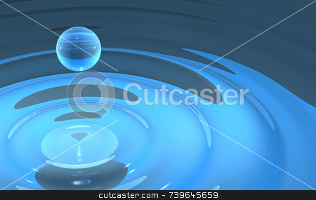 Single Water Drop From Splash stock photo, 3D illustration of single water drop or droplet rising from a small pool of blue water. Smooth and silky with complex reflections and subtle ripple current. by ngirl