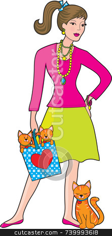 Glamor Girl stock photo, A young, very fashionable woman wearing a lot of jewellery and holding a bag with two kittens in it.  The mother cat is leaning against her leg. by Maria Bell