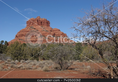 Sedona's Bell Rock stock photo, Bell Rock is one of the numerous red rock geological formations that greet visitors to Sedona, Arizona. by Dennis Thomsen