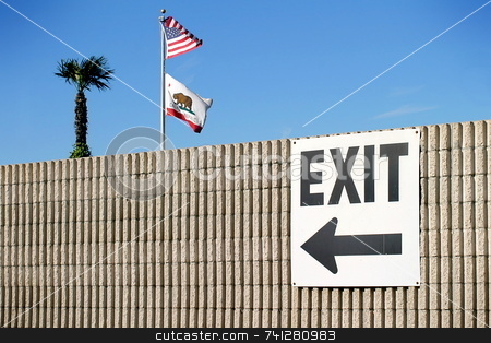 Exit stock photo, Exit sign with the usa and california flag and a palm tree by Henrik Lehnerer