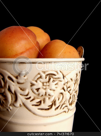 Apricots in Tin Bucket stock photo, Fresh apricots in a rustic tin bucket, against a black background by Martie Venter