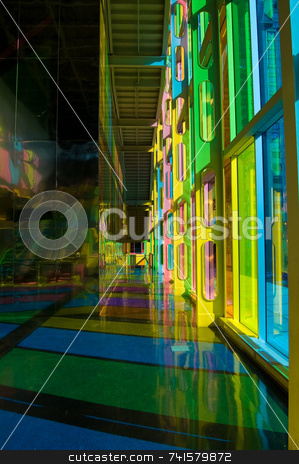 Colorful hall wide stock photo, Building hall colored by sunlight passing through tinted windows, wide angle shot by Jean Larue-Frechette
