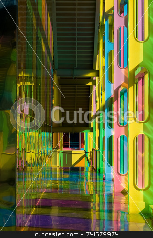 Colorful hall stock photo, Building hall colored by sunlight passing through tinted windows by Jean Larue-Frechette