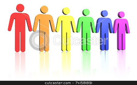 Men stock photo, Colored row of man signs by Jean Larue-Frechette
