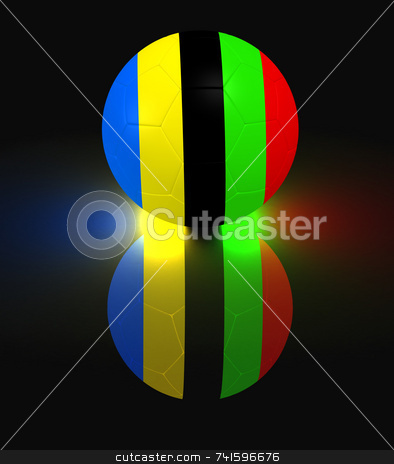 Soccer glow stock photo, Glowing soccer ball with olympic colord stripes by Jean Larue-Frechette