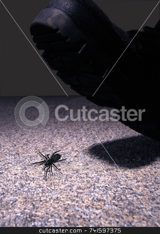 Crushed stock photo, A bug about to be crushed under a boot by Paul Phillips