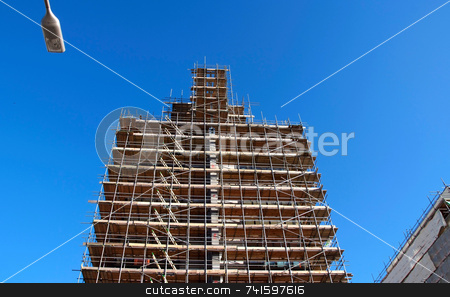 New office building under construction stock photo, Construction of a new high-rise building by Paul Phillips