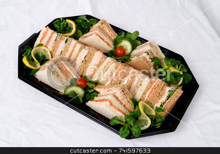 Lunch stock photo, Tray of cut samd by Paul Phillips