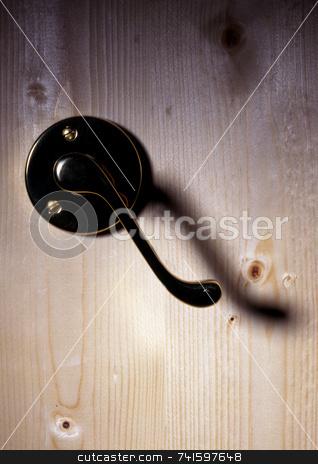 Open stock photo, Door handle on wooden door by Paul Phillips