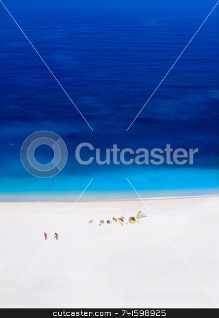 Myrtos Beach stock photo, Myrtos beach Kefalonia, Greece. With two windsurfers by Paul Phillips