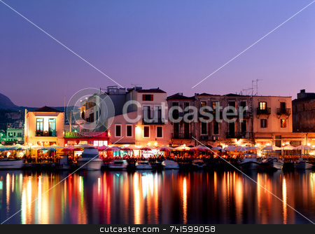 Rethymnon stock photo, Lights from tavernas over Rethymnon harbour, Crete, Greece by Paul Phillips