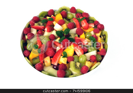 Fruit Salad stock photo, A mixed fruit salad on a plain white background by Paul Phillips